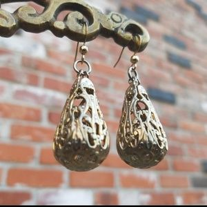 Gold Floral Filigree Charm Earrings